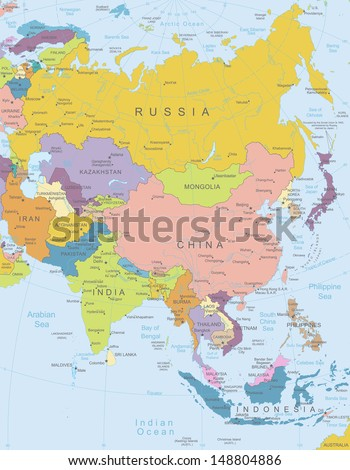 asia highly detailed mapall elements are separated in editable layers clearly labeled