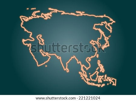 Asia map  - stock vector