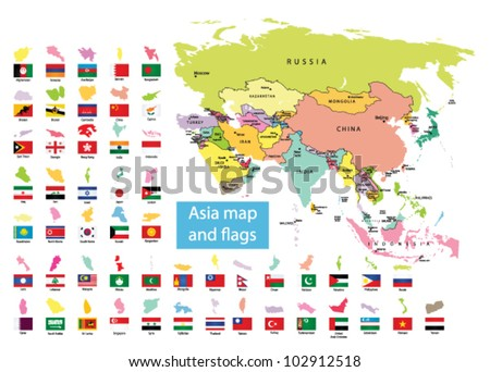 Asia map  and countries with flag - stock vector