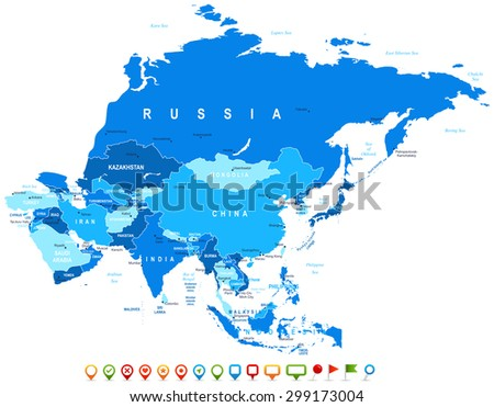 Asia - map and navigation icons - illustration - stock vector