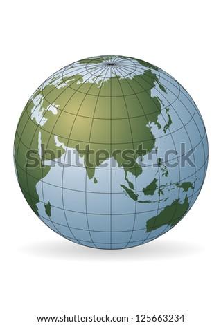 Asia map.  Australia, Russia, Africa, North pole - stock vector