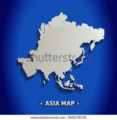 Asia map blue line 3D vector - stock vector