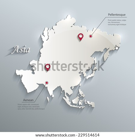 Asia map blue white card paper 3D vector infographics - stock vector