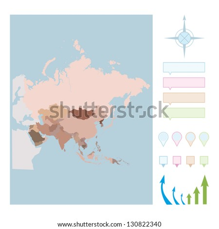 Asia Map. Cartography collection. Vector illustration. - stock vector