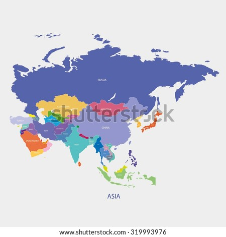 Asia Map Name Countries Illustration Vector Stock Vector 319993976