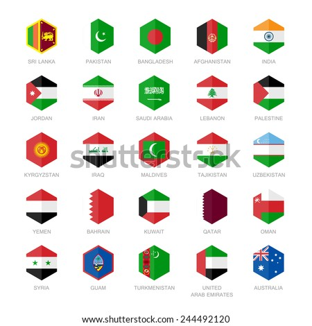 Asia middle east and south Asia Flag Icons. Hexagon Flat Design. - stock vector