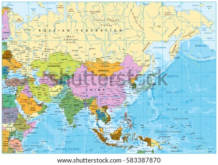 Asia Political Map Rivers Lakes Elevations Stock Vector (Royalty ...