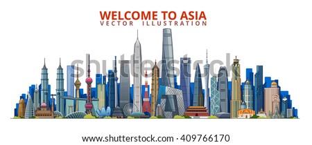 Asia skyline icons cities. Bangkok. Kuala Lumpur. Singapore. Hong kong. Tokyo. Shanghai. Vector illustration - stock vector