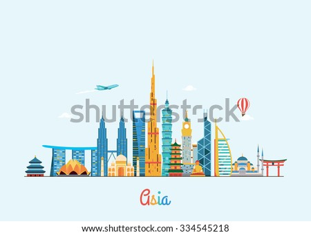 Asia skyline. Travel and tourism background. Vector flat illustration - stock vector