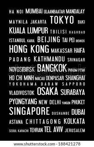 Asia - typographic poster with asian cities