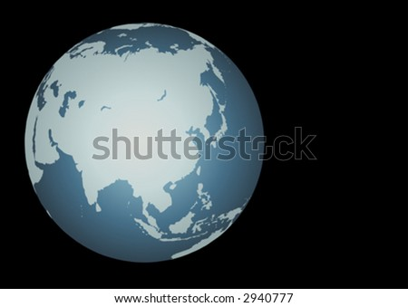 Asia (Vector). Accurate map of Asia. Mapped onto a globe. Includes the large lakes and sea of Russia, Islands of Aleutians, Maldives, Indonesia, etc.