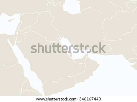 Asia with highlighted Bahrain map. Vector Illustration.