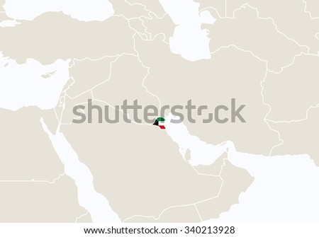 Asia with highlighted Kuwait map. Vector Illustration.  - stock vector