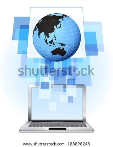 Asia world globe in laptop internet searching frame idea vector illustration