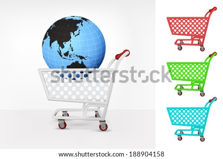 Asia world globe in shopping cart colorful collection concept vector illustration