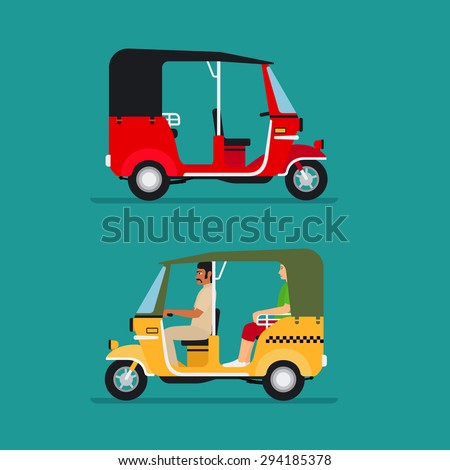 Asian auto rickshaw or baby taxi vector transport - stock vector