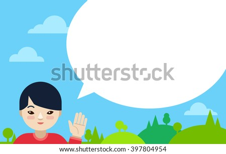 Asian boy with speech bubble