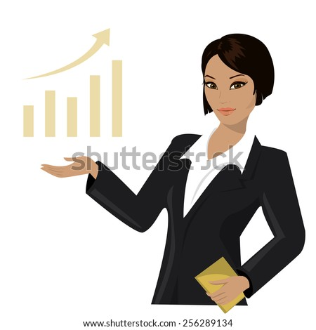 asian business woman pointing to  business trends,cartoon vector illustration - stock vector