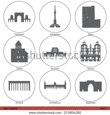 Asian Capitals - Icon Set (Part 4) - stock vector