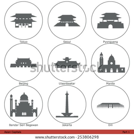 Asian Capitals - Icon Set (Part 1) - stock vector