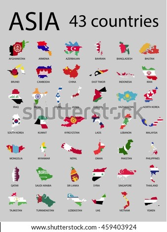 Asian countries map and flag. Vector illustration.