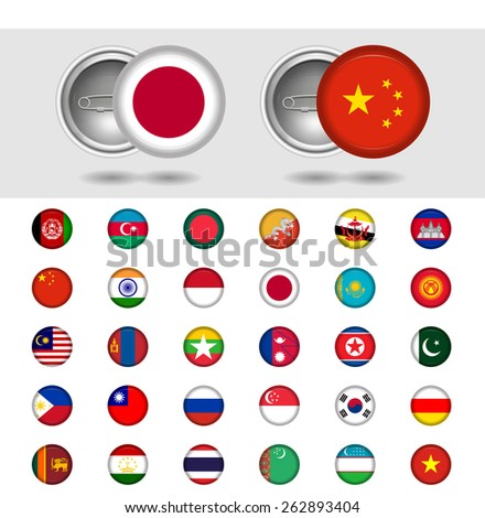 Asian countries, World Flag collection. Pin badges. Part 3/6 - stock vector