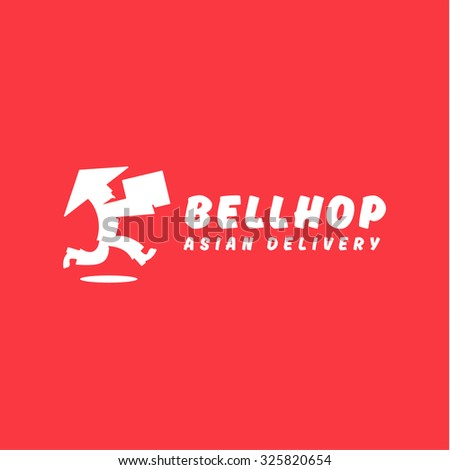Asian deliveryman runs speed delivery cargo box hat beard Chinese brings parcel logos - stock vector