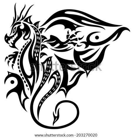 Asian dragon with big wings, fantasy - stock vector