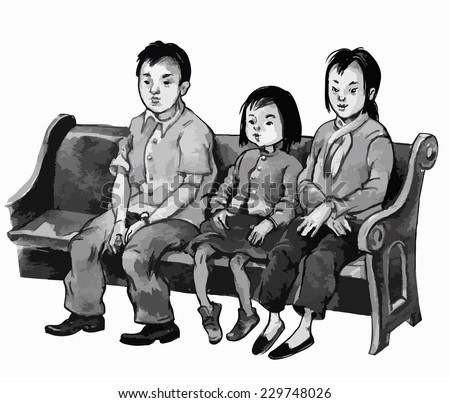 ASIAN Family Attending CHURCH Mass Black And White Illustration Children For School Books