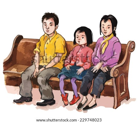 ASIAN Family Attending CHURCH Mass Children Illustration For School Books Magazines Advertising And