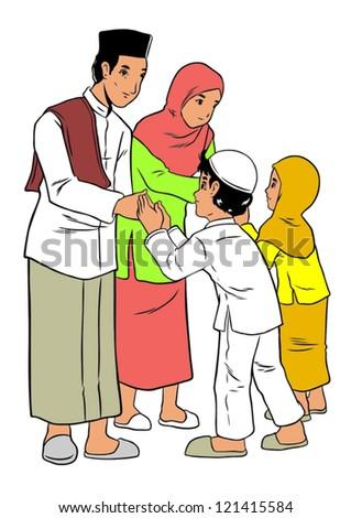 Asian family forgiveness - stock vector