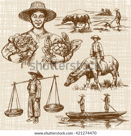 Asian farmers working on Field. Asian farmer with vegetables. Hand drawn illustration. - stock vector