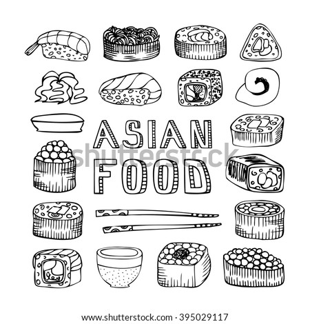 Asian food. Asian kitchen. Asian food menu for restaurant, cafe. Asian food menu on chalkboard. Vector illustration