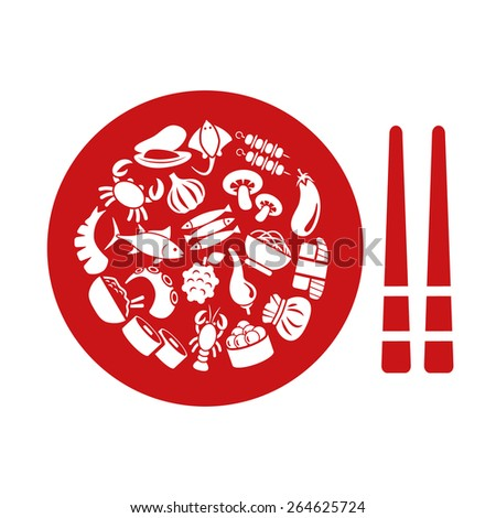 asian food icons in plate - stock vector