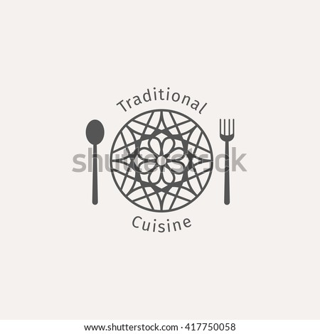 Asian food logo template. Vector ethnic ornamental design for restaurants and cafes. - stock vector