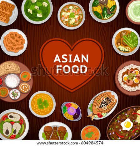 Travel taiwan collection colorful illustrations for Asian indian cuisine
