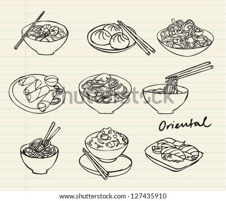 Asian food set doodle illustration - stock vector