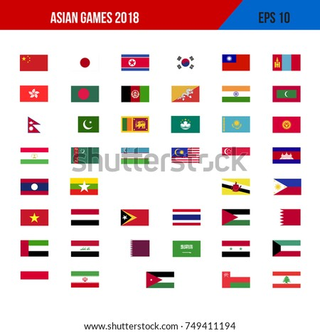 stock vector asian games flag vector illustration eps 749411194 - Asian Games 2018 Which Country