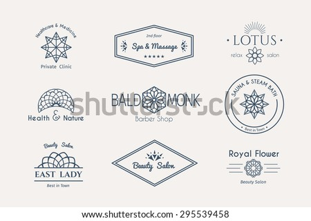 Asian health and beauty logo templates set. Vector ethnic ornamental design for beauty salons, spa, massage, barber shops, saunas, healthcare and medicine. - stock vector