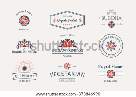 Asian health and beauty logo templates set. Vector ethnic ornamental design for beauty salons, spa, massage, cosmetic industry, vegetarian food, saunas, healthcare and medicine.