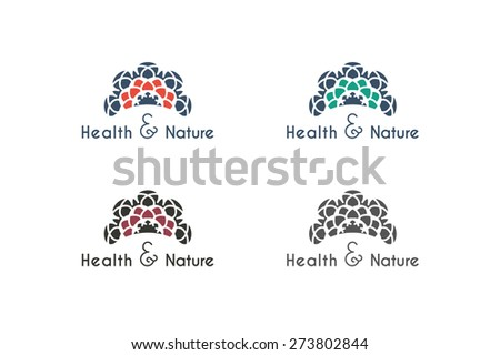 Asian health and nature logo templates set. Vector ethnic ornamental design for beauty salons, spa, massage, saunas, healthcare and medicine. - stock vector