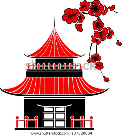 Asian house and cherry blossoms, stencil - stock vector
