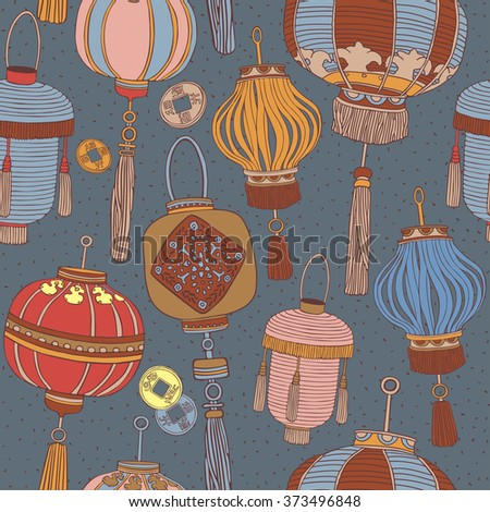 Asian lanterns seamless pattern.