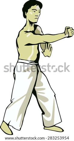 Asian man holding a fist and protect its central point . - stock vector