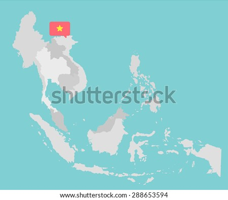 Asian map with vietnam point flag flat design vector - stock vector