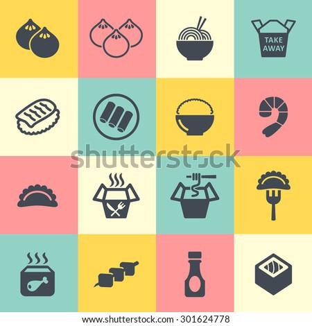 Asian menu icons - stock vector