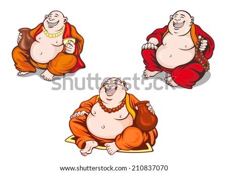 Asian monks set in cartoon style for religious design - stock vector