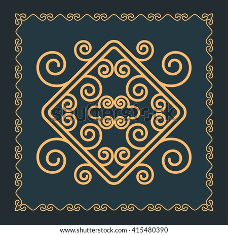Asian ornaments collection. Historically ornamental of nomadic people. It based on real-Kazakh carpets of felt and wool.  - stock vector