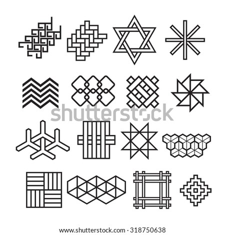 asian ornaments, weave bamboo ,asian lattice, chinese, japanese, korean vector set - stock vector