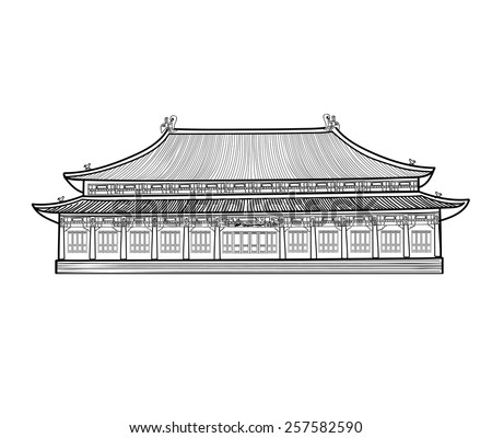 Asian pavilion building. House in Asian China style. Chinese architecture. - stock vector